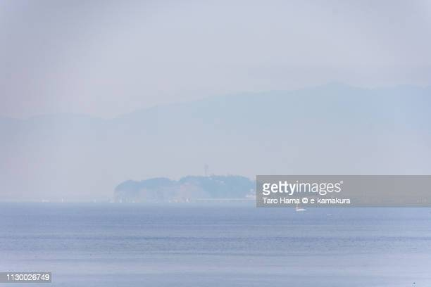Sagami Bay, Pacific Ocean, Tanzawa Mountains and Enoshima Island in Fujisawa city in Kanagawa prefecture in Japan