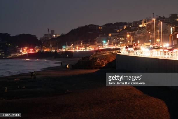 Sagami Bay (Pacific Ocean), Shichirigahama Beach and heavy traffic Route 134, the coast road in Kamakura city in Japan