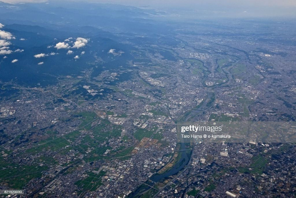 Sagami River, Atsugi and Isehara cities in Kanagawa prefecture daytime aerial view from airplane : ストックフォト