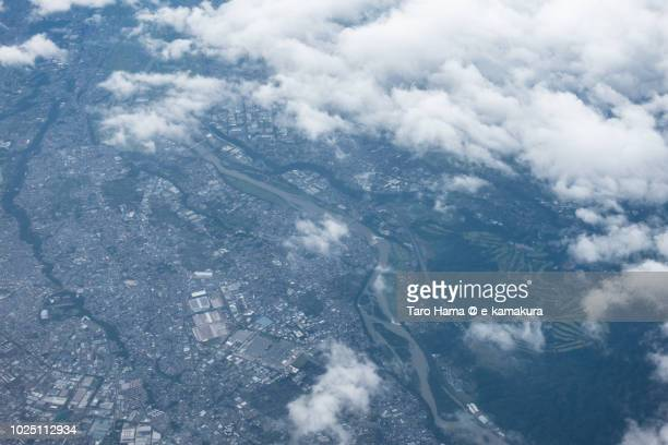 Sagamihara city and Aikawa town in Kanagawa prefecture in Japan daytime aerial view from airplane