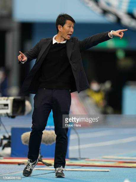 Sagan Tosu head coach Kim Myung Hwi gestures during the JLeague MEIJI YASUDA J1 match between Kawasaki Frontale and Sagan Tosu at Todoroki Stadium on...