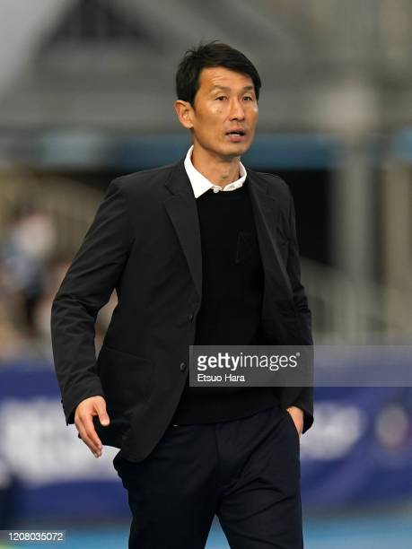 Sagan Tosu head coach Kim Myung Hwi looks on during the JLeague MEIJI YASUDA J1 match between Kawasaki Frontale and Sagan Tosu at Todoroki Stadium on...
