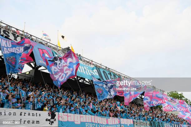 Sagan Tosu supporters cheer prior to the JLeague J1 match between Sagan Tosu and Vegalta Sendai at Best Amenity Stadium on June 17 2017 in Tosu Saga...