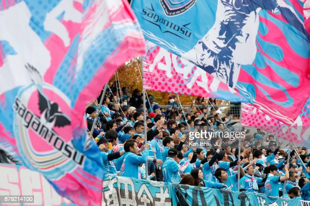 Sagan Tosu supporters cheer prior to the JLeague J1 match between Sagan Tosu and Jubilo Iwata at Best Amenity Stadium on November 26 2017 in Tosu...