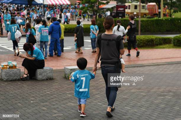 Sagan Tosu supporters make their waay to the stadium prior to the J.League J1 match between Sagan Tosu and Urawa Red Diamonds at Best Amenity Stadium...