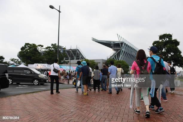 Sagan Tosu supporters make their way to the stadium prior to the JLeague J1 match between Sagan Tosu and Urawa Red Diamonds at Best Amenity Stadium...