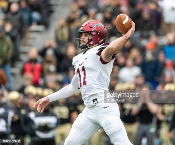 Sage Attwood of the Colgate Raiders throws a pass against the Army Black Knights at Michie Stadium on November 17 2018 in West Point New York