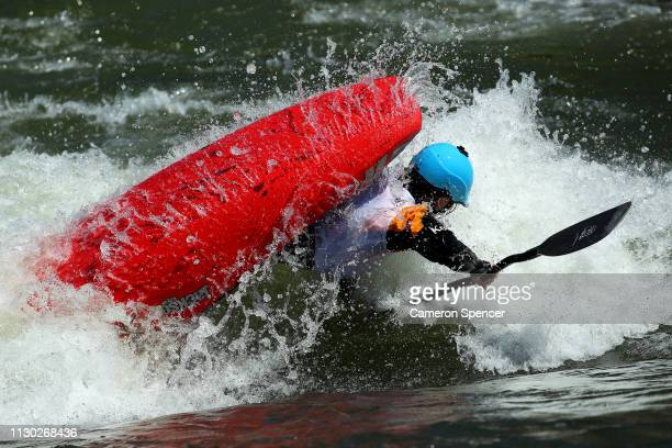 Sage Donelly of the United States competes in the Women's Freestyle Oceania Championships during the 2019 Australian Canoe Slalom Open on February 17...