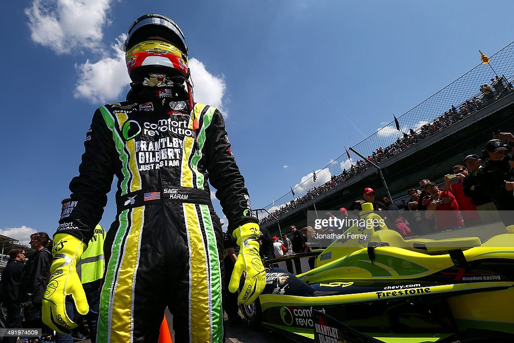Sage Karam, driver of the #22 Dreyer-Reinbold Chevrolet Dallara, waits to qualify for the 98th Indianapolis 500 Mile Race on May 18, 2014 at the Indianapolis Motor Speedway in Indianapolis, Indiana.