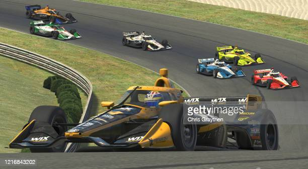 Sage Karam, driver of the Wix Filters Dreyer & Reinbold Chevrolet, races during the IndyCar iRacing Challenge Honda Indy Grand Prix of Alabama at...