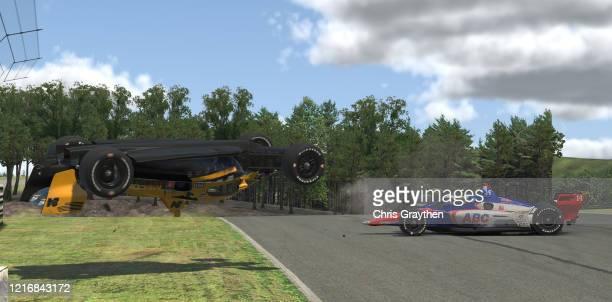 Sage Karam, driver of the Wix Filters Dreyer & Reinbold Chevrolet, crashes during the IndyCar iRacing Challenge Honda Indy Grand Prix of Alabama at...