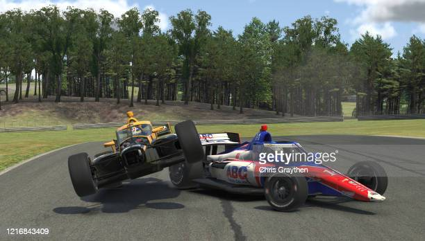 Sage Karam, driver of the Wix Filters Dreyer & Reinbold Chevrolet, crashes during the IndyCar iRacing Challenge Honda Indy Grand Prix of Alabama at...