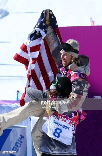 Sage Kotsenburg of the United States celebrates winning gold after his second run during the Snowboard Men's Slopestyle Final during day 1 of the...