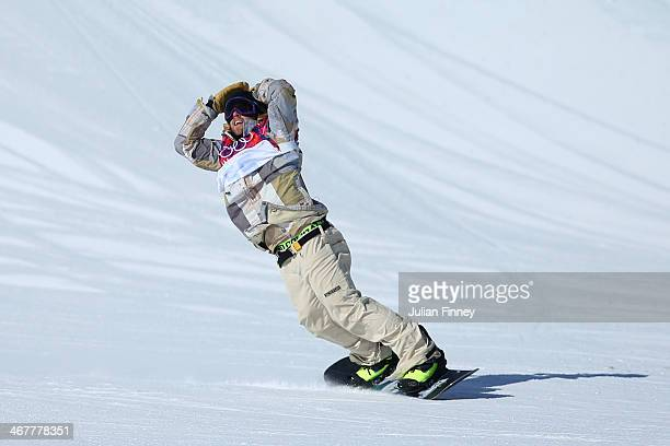Sage Kotsenburg of the United States reacts after his first run during the Snowboard Men's Slopestyle Final during day 1 of the Sochi 2014 Winter...