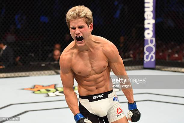 Sage Northcutt celebrates his victory over Francisco Trevino in their lightweight bout during the UFC 192 event at the Toyota Center on October 3...