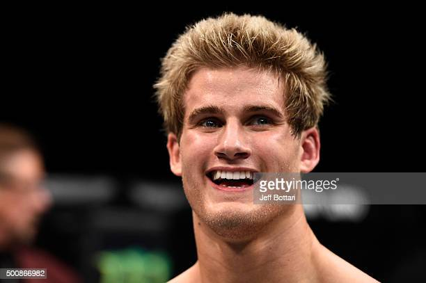 Sage Northcutt celebrates his win over Cody Pfister in their lightweight bout during the UFC Fight Night event at The Chelsea at the Cosmopolitan of...