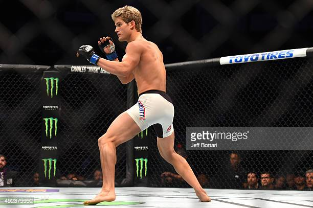 Sage Northcutt face Francisco Trevino in their lightweight bout during the UFC 192 event at the Toyota Center on October 3 2015 in Houston Texas