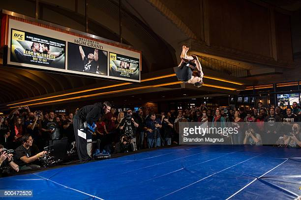 Sage Northcutt holds an open training session for fans and media at the MGM Grand Hotel/Casino on December 8 2015 in Las Vegas Nevada