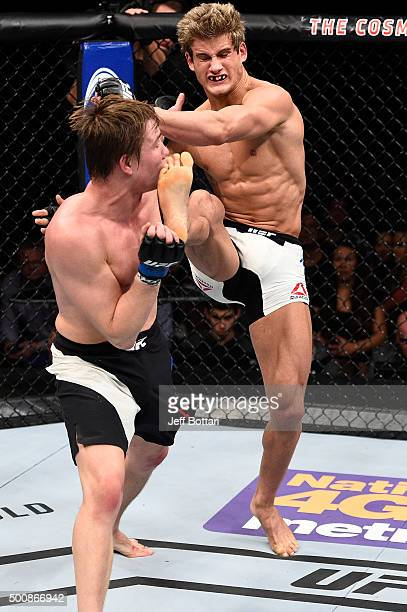 Sage Northcutt kicks Cody Pfister in their lightweight bout during the UFC Fight Night event at The Chelsea at the Cosmopolitan of Las Vegas on...