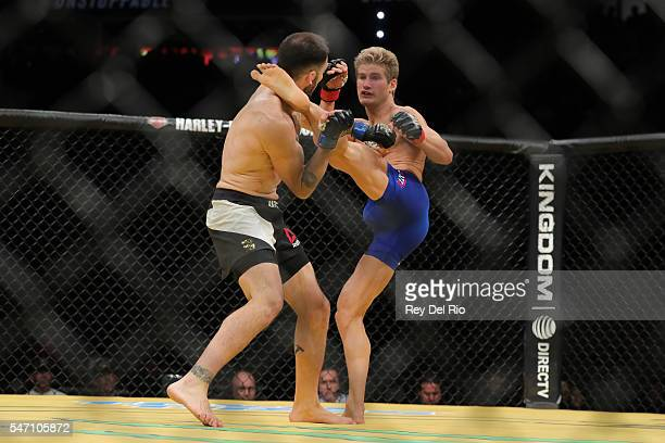 Sage Northcutt kicks Enrique Marin during the UFC 200 event at TMobile Arena on July 9 2016 in Las Vegas Nevada