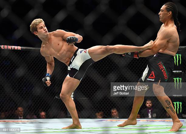Sage Northcutt kicks Francisco Trevino in their lightweight bout during the UFC 192 event at the Toyota Center on October 3 2015 in Houston Texas