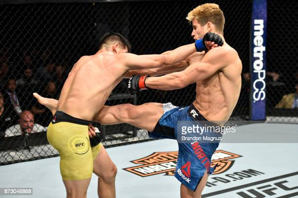 Sage Northcutt kicks Michel Quinones in their lightweight bout during the UFC Fight Night event inside the Ted Constant Convention Center on November...