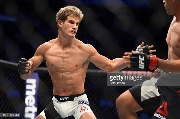 Sage Northcutt looks to attack Francisco Trevino in their lightweight bout during the UFC 192 event at the Toyota Center on October 3 2015 in Houston...