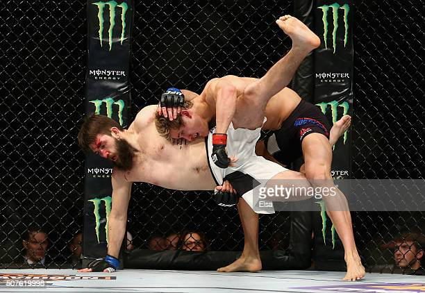 Sage Northcutt of the United State takesdown Bryan Barberena of the United States in the first round of their welterweight bout during the UFC Fight...