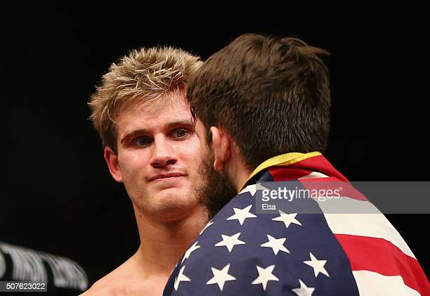 Sage Northcutt of the United States congratulates Bryan Barberena of the United States on Barberena's win by submission in the second round of their...