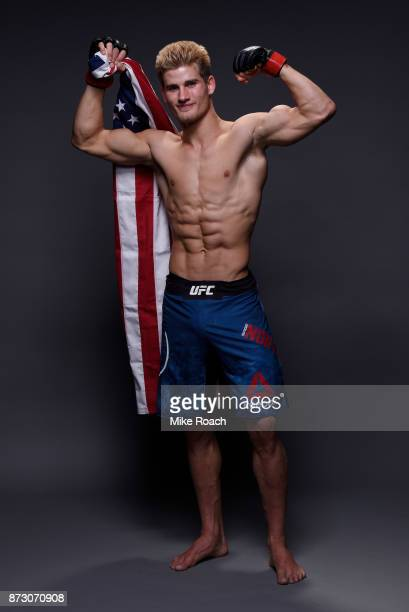 Sage Northcutt poses for a post fight portrait backstage during the UFC Fight Night event inside the Ted Constant Convention Center on November 11...