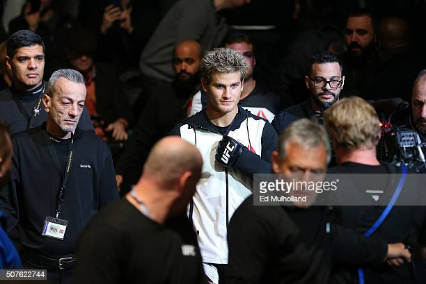 Sage Northcutt prepares to enter the Octagon before facing Bryan Barberena in their welterweight bout during the UFC Fight Night event at the...