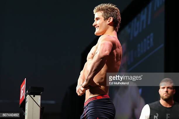Sage Northcutt steps on the scale during the UFC weighin at the Amerihealth Pavilion on January 29 2016 in Newark New Jersey