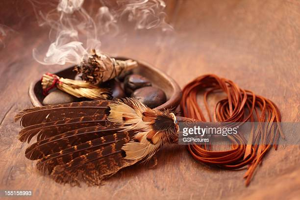 sage stick and american indian feather - ceremony stock pictures, royalty-free photos & images