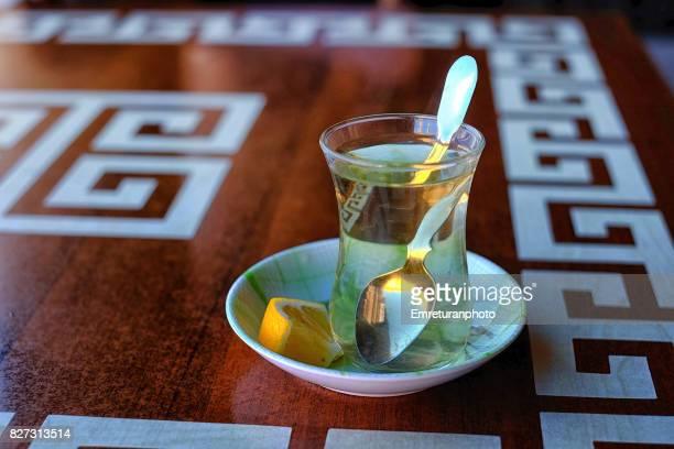 Sage tea served with a slice of lemon at Hisaronu,Izmir.
