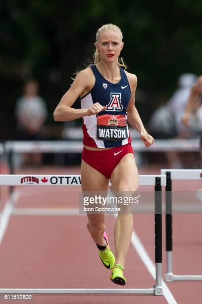 Sage Watson in the 400m hurdle heats at the Canadian Track and Field Championships on 8 July 2017 at the Terry Fox Athletic Facility in Ottawa Canada