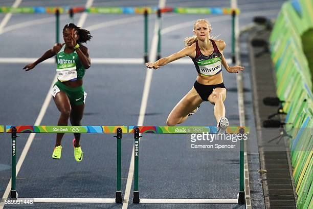 Sage Watson of Canada competes during the Women's 400m Hurdles Round 1 Heat 6 on Day 10 of the Rio 2016 Olympic Games at the Olympic Stadium on...
