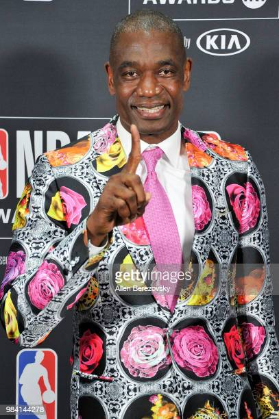 Sager Strong award winner Dikembe Mutombo poses in the backstage photo room during the 2018 NBA Awards Show at Barker Hangar on June 25 2018 in Santa...