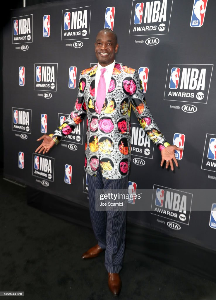 Sager Strong winner Dikembe Mutombo poses in his jacket at the 2018 NBA Awards at Barkar Hangar on June 25, 2018 in Santa Monica, California.