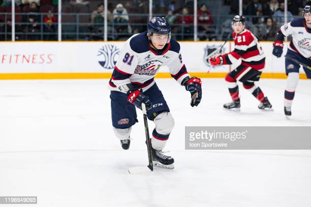 Saginaw Spirit Left Wing Cole Perfetti closes on the play during Ontario Hockey League action between the Saginaw Spirit and Ottawa 67's on January...