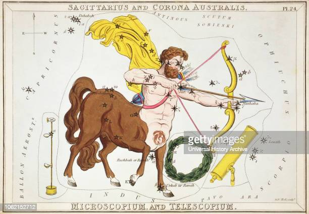 Sagittarius and Corona Australis Microscopium and Telescopium Card Number 24 from Uranias Mirror or A View of the Heavens one of a set of 32...
