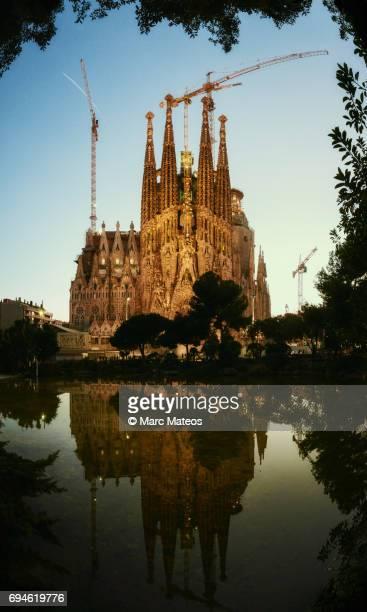 Sagrada Familia at Blue Hour reflected on a lake