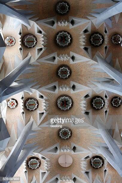 Sagrada Familia basilica ceiling.