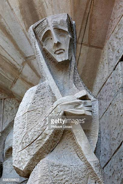 Sagrada Familia basilica. Passion façade : Sculpture by Joseph Maria Subirachs
