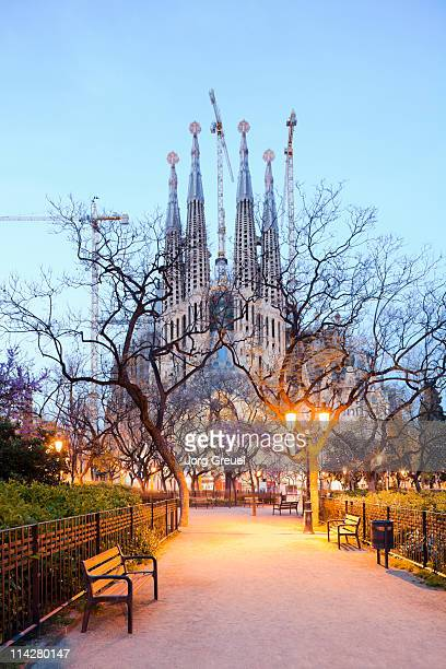 Sagrada Familia church at dusk