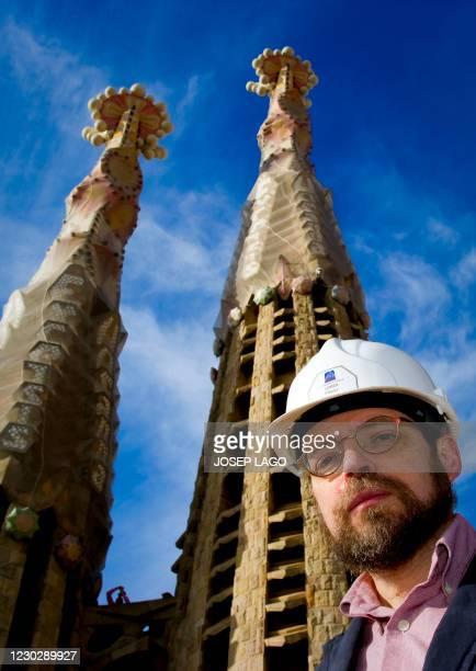 Sagrada Familia church's architect Jordi Fauli poses on October 30, 2010 in front of the Barcelona's temple. Pope Benedict XVI said on November 3,...