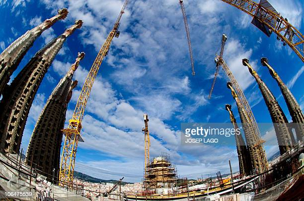 Sagrada Familia church's construction site is seen on October 30, 2010 in Barcelona. Pope Benedict XVI said on November 3, 2010 he was delighted to...