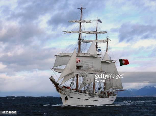 Sagres Ship in Ushuaia Bay, Tierra del Fuego Argentina.