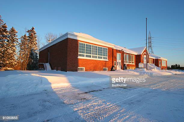 saguenay primary school in winter - buzbuzzer stock pictures, royalty-free photos & images