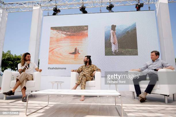 Sah D'Simone Chief Creative Officer of Havas New York Harry Bernstein and Dan Harris speak onstage during the Havas NY session at the Cannes Lions...
