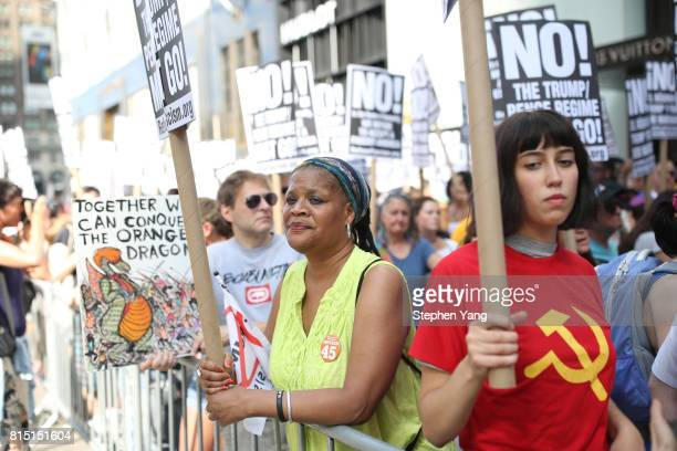 Sahai Haiot a community activist at an antiTrump protest outside of Trump Tower on 5th Avenue on July 15 2017 in New York City